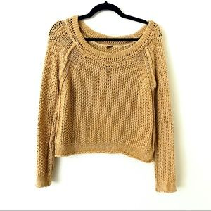 FREE PEOPLE Golden Tan Open Knit Sweater